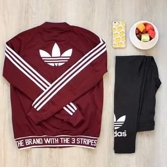 jacket burgundy adidas jacket adidas leggings black