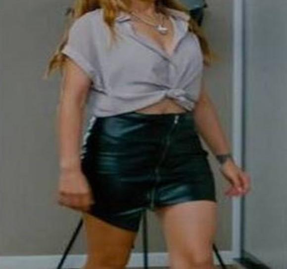 skirt mini skirt leather skirt zipper skirt kacak gelinler selin sekerci shirt beige shirt tied shirt black leather