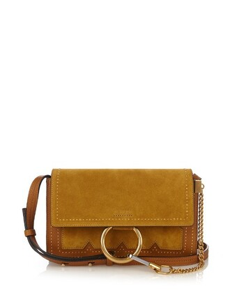 cross bag leather suede dark yellow