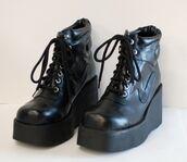 shoes,combat,wedges,lace up,black,heel,sneakers,punk,boots,platform shoes