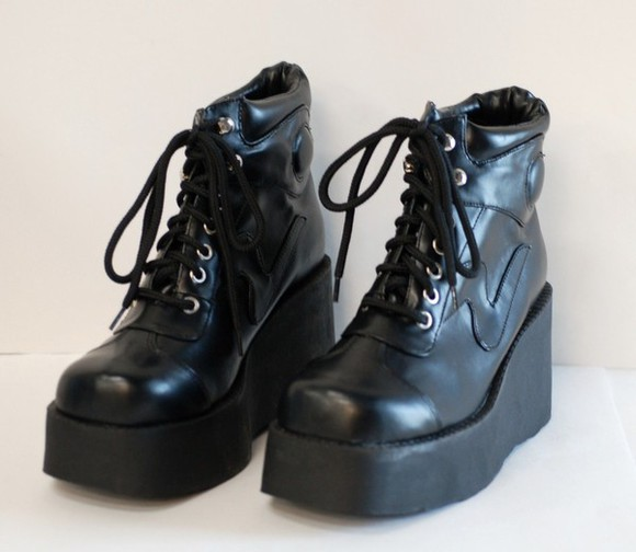 shoes boots wedge platform lace up combat black heel sneakers punk ankle
