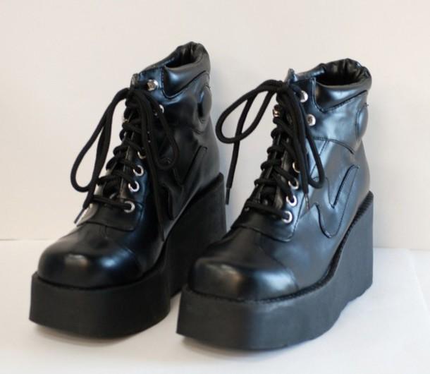 54ab10702ca shoes combat wedges lace up black heel sneakers punk boots platform shoes