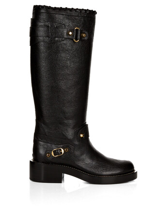knee-high boots high classic boots leather black shoes