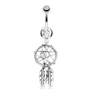 Dream Catcher Belly Button Ring Dangle