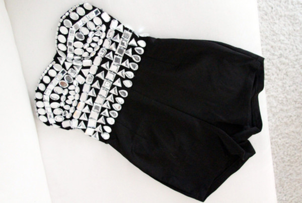 shorts jumpsuit black diamonds sequins sequins