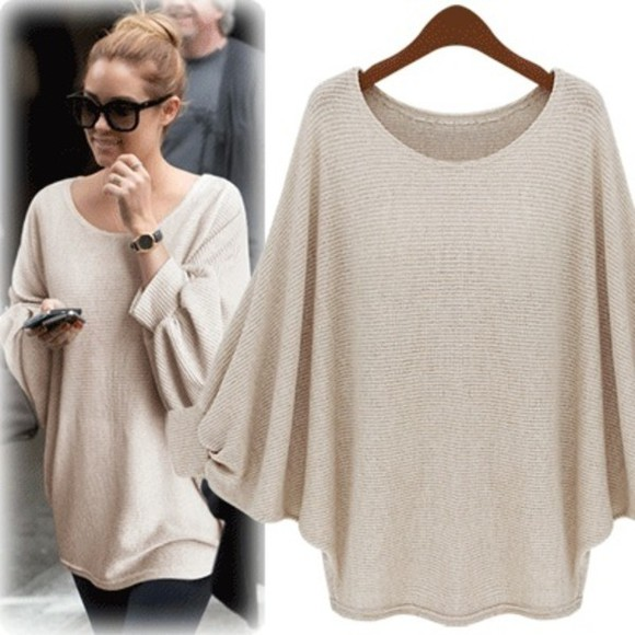 sweater lauren conrad top blouse beige long sleeves shirt oversized sunglasses tan oversized sweater