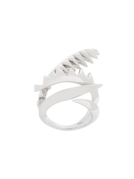 women ring silver grey metallic jewels