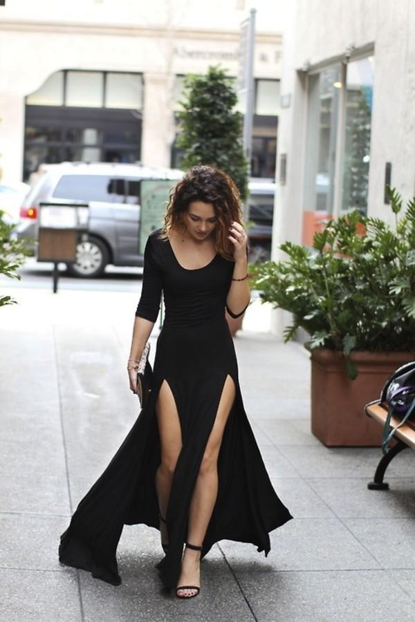 dress black dress slit maxi dress simple dress simple black black long black dress