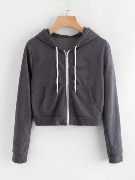 Sweater Girly Grey Grey Sweater Zip Zip Up Hoodies Hoodie
