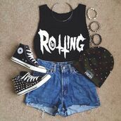 tank top,shoes,hat,shirt,grunge,vans,soft grunge,chuck taylor all stars,studs,camp,beanie,black,shorts,jewels,t-shirt,accessories,style,all black everything,tights,sunglasses