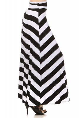 Black & white striped banded maxi skirt