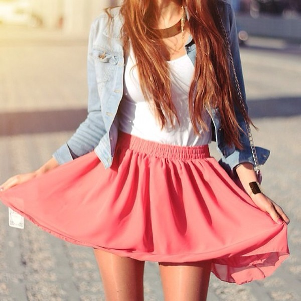 skirt dress pink summer skirt denim jacket jewelry jacket jewels t-shirt coral skirt shirt cute white pink blue jeans