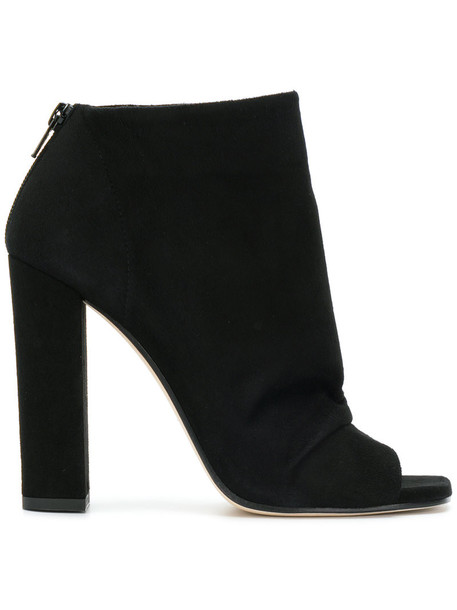 open women leather suede black shoes
