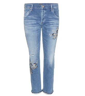 jeans embroidered jeans embroidered boyfriend blue