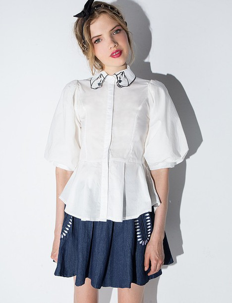 White Blouse Puff Sleeves 14