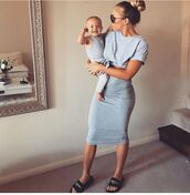 top,outfit,tammy hembrow,blue top,t-shirt,knitted dress,blue dress,two piece dress set