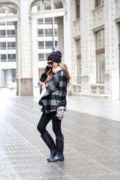 for all things lovely,blogger,coat,top,leggings,shoes,scarf,hat,bag,gloves,sunglasses,knitted gloves,tartan,printed coat,beanie,winter outfits,winter look,jeans,black jeans,boots,wellies,black boots,black sunglasses