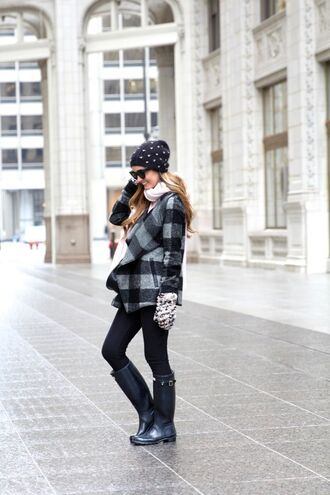 for all things lovely blogger coat top leggings shoes scarf hat bag gloves sunglasses knitted gloves tartan printed coat beanie winter outfits winter look jeans black jeans boots wellies black boots black sunglasses