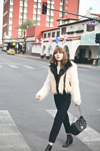 natalie off duty blogger coat jumpsuit bag fluffy