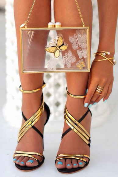shoes black  high heels black gold strappy sandals strappy heels strappy black shoes clutch gold clutch