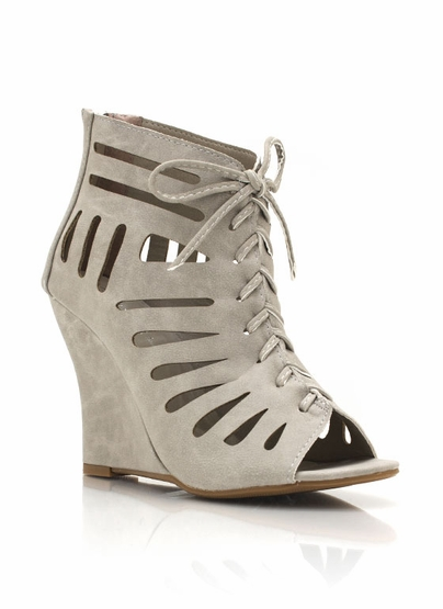 GJ | Cut-Out Lace-Up Wedges $26.80 in BLACK LTGREY - Wedges | GoJane.com
