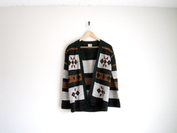 vintage 1970s wood cabin sweater cardigan with by helloambition