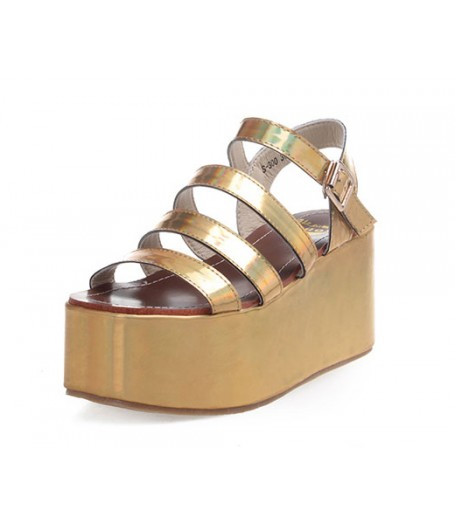Holographic Gold Platform Sandals