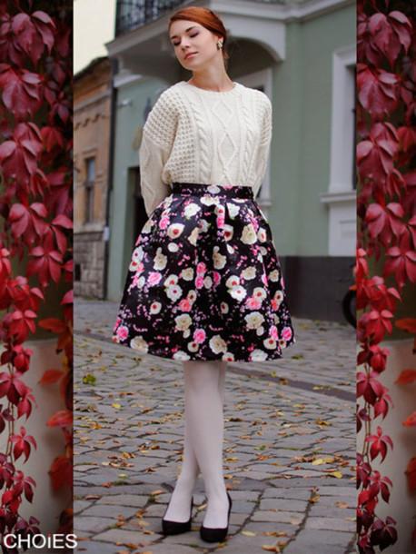 floral skirt flare skirt skirt