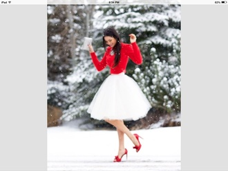 skirt red redshirt redheels adorable tulle skirt
