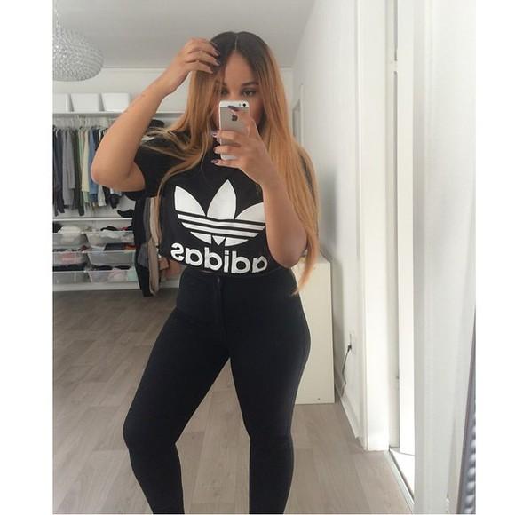 black t-shirt t-shirt top adidas adidas top adidas t-shirt instagram