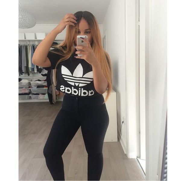 top adidas adidas top adidas t-shirt t-shirt black t-shirt instagram