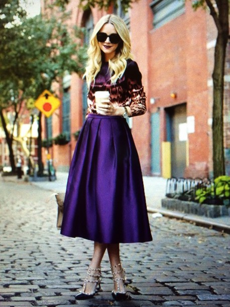 Skirt: fashion, retro, purple, midi skirt, blouse, flare ...