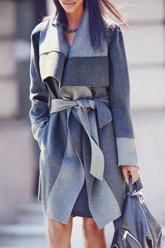 coat grey jacket casual fashion style trendy winter outfits long sleeves fall outfits wool coat trench coat self-tie top outerwear clothes outfit chill streetstyle zaful bag backpack clutch handbag streetwear patchwork denim trench denim patchwork grey coat waterfall coat