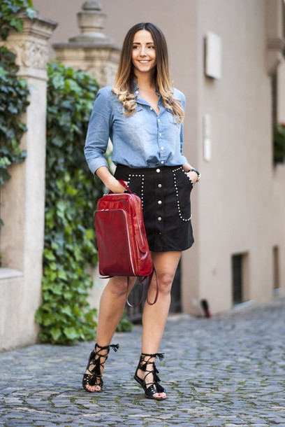 let's talk about fashion ! blogger jewels denim top denim jacket black skirt suede skirt button up skirt studded backpack red bag black flats lace up mini skirt date outfit back to school red backpack denim shirt blue shirt sandals flat sandals black sandals gladiators