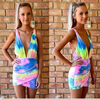 dress tye dye mini dress rainbow dress