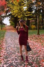 hapa time,blogger,shoes,sweater,dress,burgundy dress,knitted dress,fall dress,handbag,ankle boots,knitted mini dress