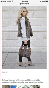 top,faux fur vest & sweater