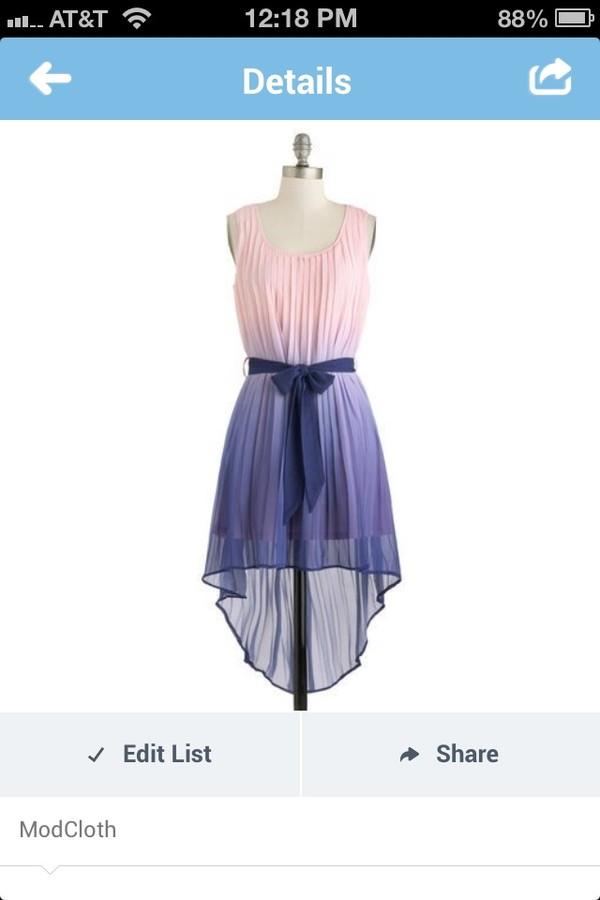dress pretty ombre pink blue beautiful ribbon prom dress
