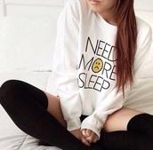 sweater,need more sleep,white sweater,perfect