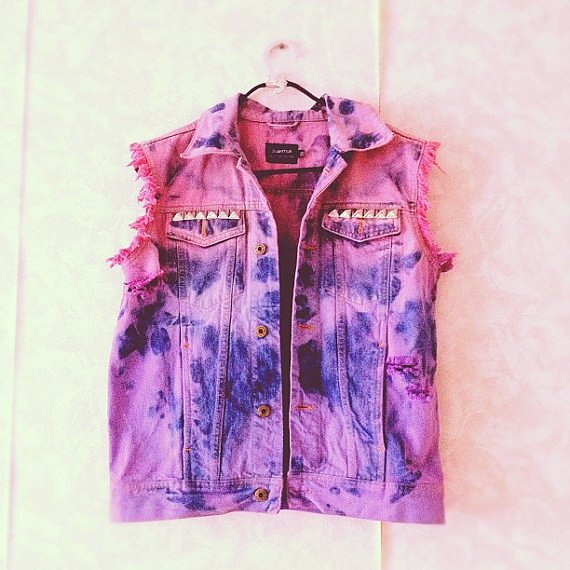 Ombre Dip Dyed Denim Vest with Studs - Vests - Studded: Love it by Misty Allegood
