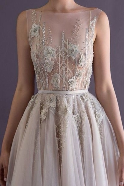 c601b6a8ff36 dress flowers white flowers beaded white nude beautiful long dress flowy  homecoming dress fancy dress formal