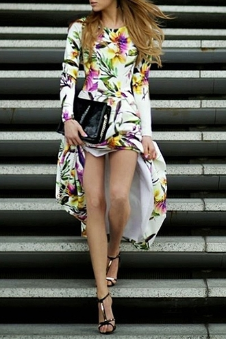 dress zaful floral floral dress long dress long sleeve dress casual casual dress blogger blogger dress maxi dress purse sandals outfit autumn fasion september lookbook pretty