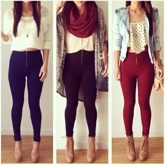 red scarf girl jeans shoes jacket black shirt top colorful blue denim hot pants leggings jeggings scarf red
