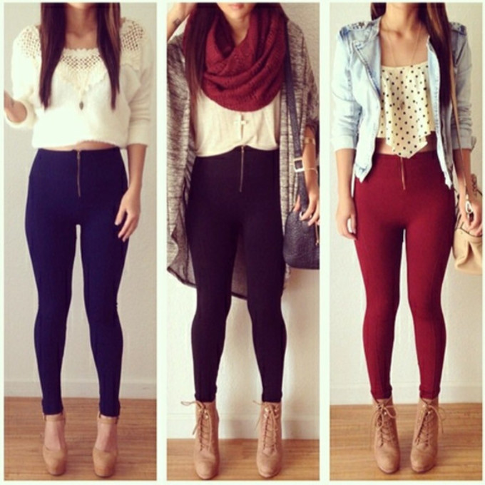 red scarf girl jacket black jeans shoes shirt top colorful blue denim hot pants leggings jeggings scarf red