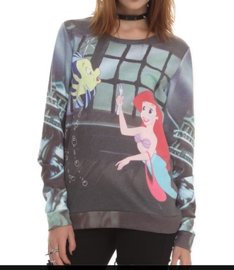 sweater the little mermaid cartoon graphic sweater childhood disney
