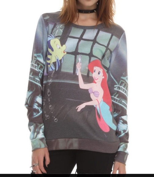 the little mermaid disney sweater cartoon graphic sweater childhood