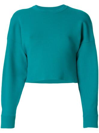pullover long women spandex jacquard blue sweater