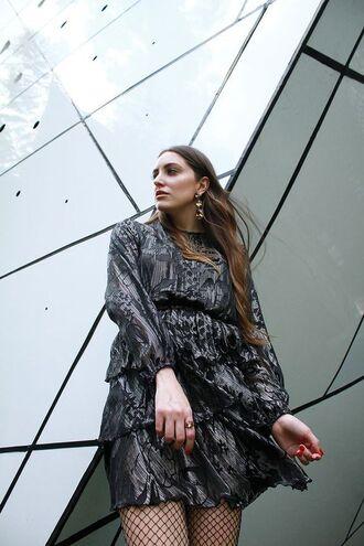 dress tumblr silver dress mini dress ruffle ruffle dress long sleeves long sleeve dress metallic tights fishnet tights plus size dress plus size