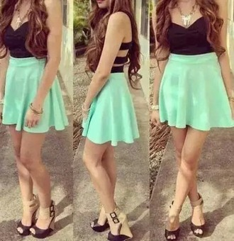 dress short skirt black neon green slits at the back cute casual combi beautiful sweet festive
