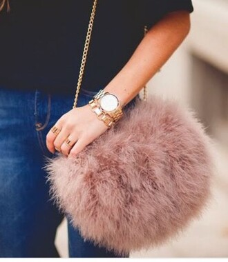 bag blush fluffy furry purse faux fur dusty pink chain bag furry pouch furry bag